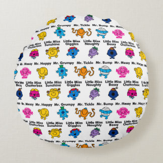 Mr Men & Little Miss | Character Names Round Cushion