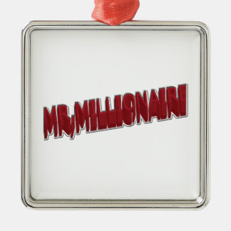 MR,Millionaire Red 3 Dimension Silver-Colored Square Decoration