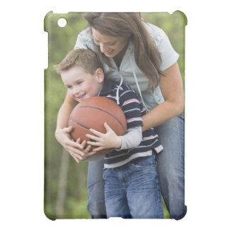 MR mother (age 26) playing basketball with son iPad Mini Cover