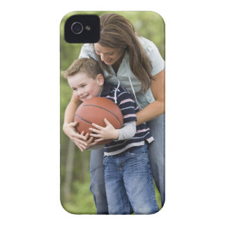 MR mother (age 26) playing basketball with son iPhone 4 Case-Mate Case