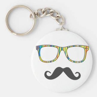 Mr Moustache Hipster Basic Round Button Key Ring