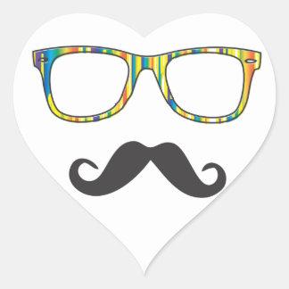 Mr Moustache Hipster Heart Sticker