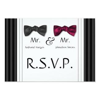 Mr & Mr Bow Ties & Pin Striped RSVP Card 9 Cm X 13 Cm Invitation Card