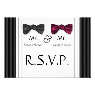 Mr Mr Bow Ties Pin Striped RSVP Card