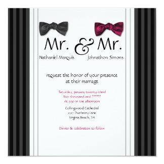 Mr. & Mr. Bow Ties & Pin Striped Wedding Invite