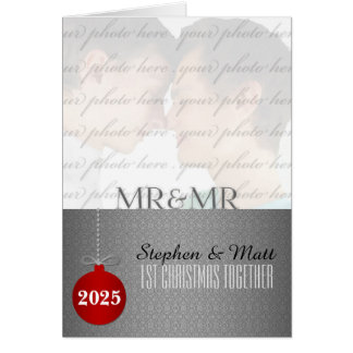 Mr. & Mr. Gay | 1st Christmas | Silver Photo Greeting Card