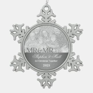 Mr. & Mr. Gay | 1st Christmas | Silver Photo Snowflake Pewter Christmas Ornament