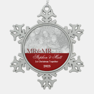 Mr. & Mr. Gay Couple | 1st Christmas | Red Photo Snowflake Pewter Christmas Ornament