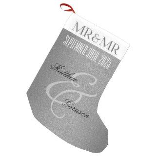 Mr. & Mr. Gay Wedding   Christmas   Custom Silver Small Christmas Stocking