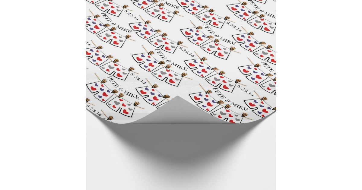 Mr. & Mr. Personalised Gay Wedding Gift Wrap Wrapping Paper Zazzle