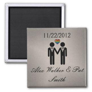 Mr & Mr Rainbow Grooms 2 Inch Square Magnet