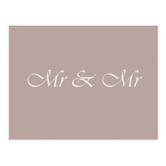 Mr & Mr Typography Beige Postcard