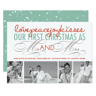 Mr & Mrs 1st Christmas Holiday Photo Collage Card 11 Cm X 16 Cm Invitation Card