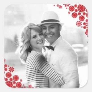 Mr & Mrs 1st Christmas Wedding Snowflakes Sticker