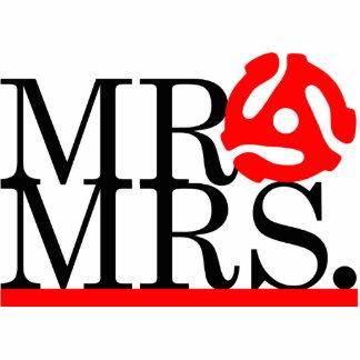 Mr & Mrs 45 Adapter Cake Topper Standing Photo Sculpture