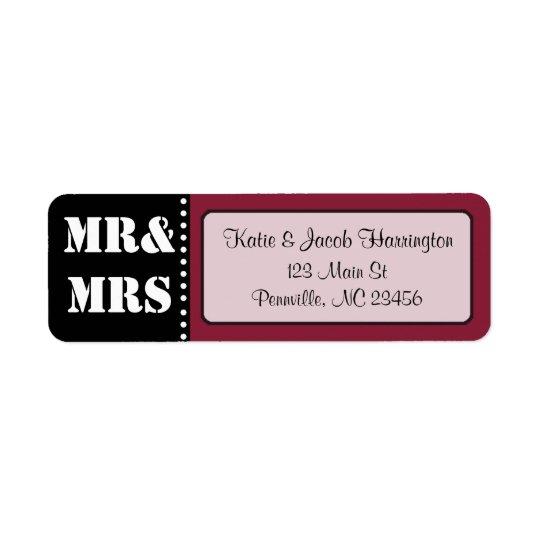 Mr & Mrs Black and Burgundy Return Address Labels