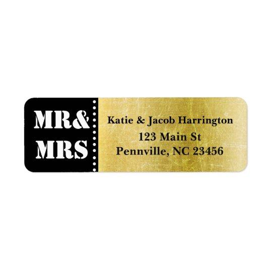 Mr & Mrs Black and Gold Return Address Labels