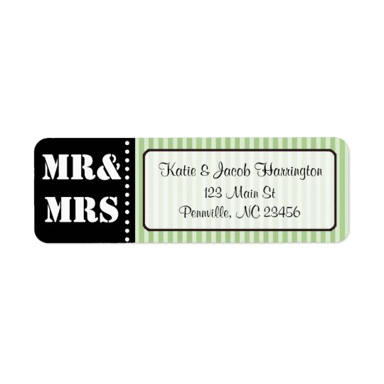 Mr & Mrs Black and Green Return Address Labels