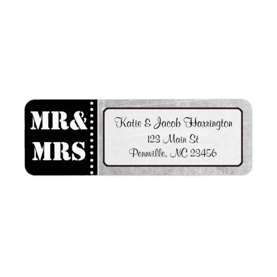 Mr & Mrs Black and Grey Return Address Labels