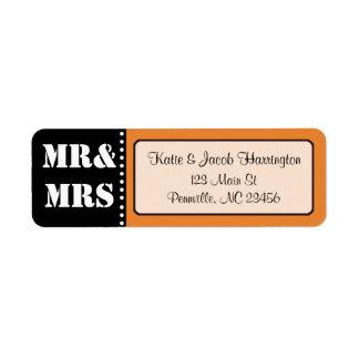 Mr & Mrs Black and Orange Return Address Labels