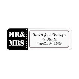 Mr & Mrs Black and White Return Address Labels