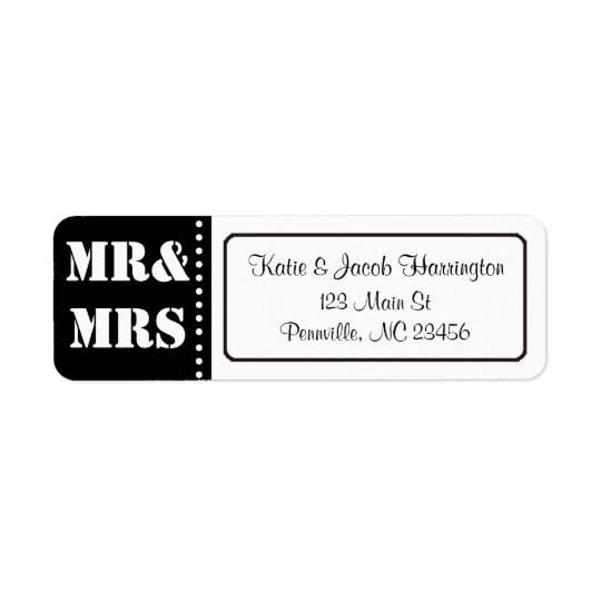 Mr & Mrs Black and White Return Address Labels