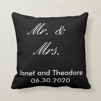 Mr. & Mrs. Black and White Wedding Throw Pillow