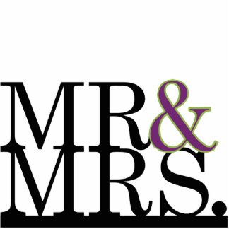 Mr & Mrs Black, Purple, Lime Ampersand Cake Topper Standing Photo Sculpture