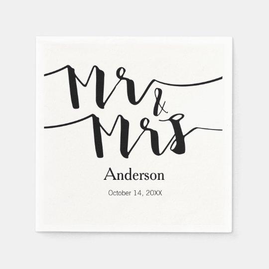 Mr & Mrs Black White Modern Wedding Napkin Paper Napkins