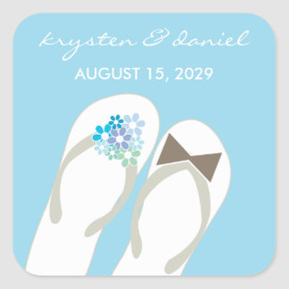 Mr & Mrs Blue Flip Flops Beach Wedding Sticker