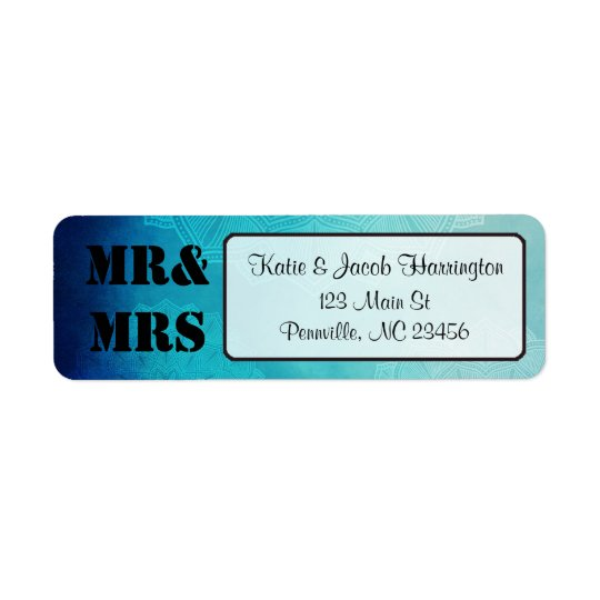 Mr & Mrs Blue Mandala Return Address Labels
