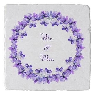 Mr. & Mrs. Blue Violet Water Colour Orchid Trivet