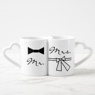 Mr. & Mrs. Bow Tie & Bow, w/ XO on Back Coffee Mug Set