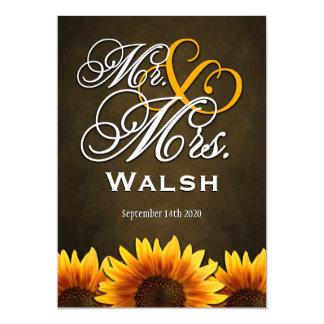 Mr & Mrs Brown Sunflower Wedding Invitations