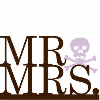 Mr & Mrs Chocolate & Lavender Skull Cake Topper Standing Photo Sculpture
