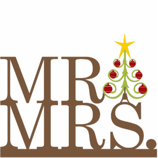 Mr & Mrs Christmas Magic Cake Topper Standing Photo Sculpture