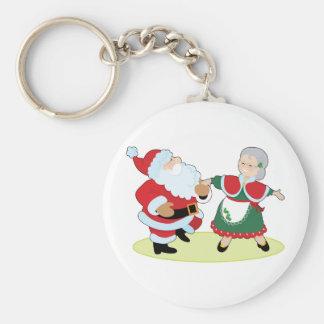 Mr Mrs Claus Basic Round Button Key Ring