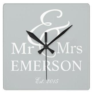 Mr & Mrs custom name Square Wall Clock
