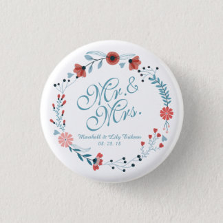 Mr. & Mrs. Cute Floral Wreath Wedding Pin Button