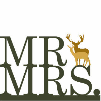 Mr & Mrs Deer Cake Topper Standing Photo Sculpture