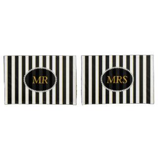 MR & MRS Elegant Black Striped Pearl Monogram Pillowcase