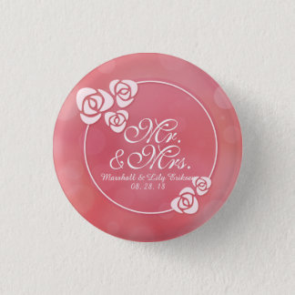 Mr. & Mrs. Elegant Floral Frame Wedding Pin Button