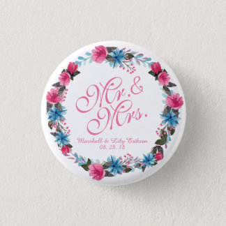 Mr. & Mrs. Elegant Floral Wedding Button