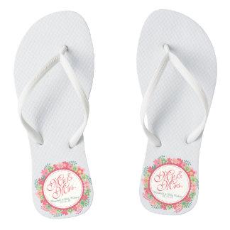 Mr. & Mrs. Elegant Floral Wedding Flip Flops