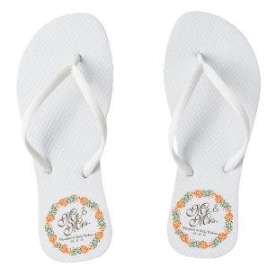 0a332823f Mr.   Mrs. Elegant Floral Wedding Flip Flops