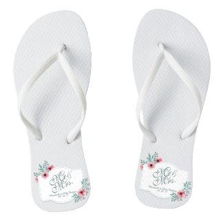 Mr & Mrs Elegant Floral Wedding Flip Flops