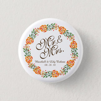 Mr. & Mrs. Elegant Floral Wedding | Pin Button