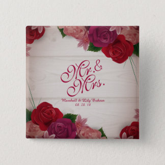 Mr. & Mrs. Elegant Floral Wedding Pin Button