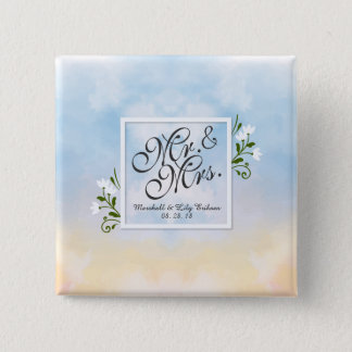 Mr. & Mrs. Elegant Frame Wedding Pin Button