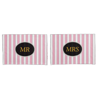 MR & MRS Elegant Pink Striped Pearl Monogram Pillowcase